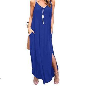 Royal Blue Sleeveless Loose Maxi Dress